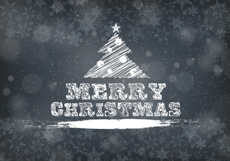 Greeting Christmas Lettering. Christmas Background. Snowflakes on the Grey Background