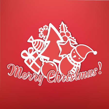 Christmas Greeting Card. Merry Christmas Lettering with Paper Cristmas Symbols.