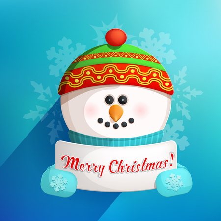 Cute Funny Snowman Holding White Page with Greetings