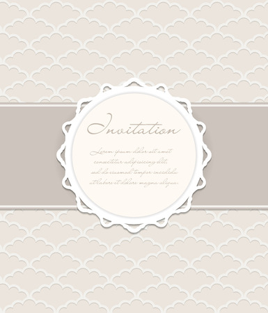 Vintage Vector Background with Paper Frame. Seamles Pattern on the Background. 向量圖像