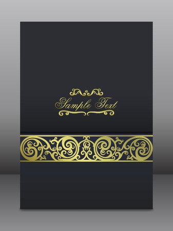 Invitation Card. Golden Ornament on the Black Background