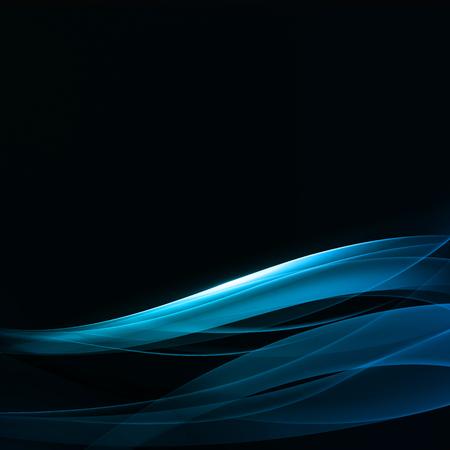 抽象的な背景。黒の背景に明るい透明な波