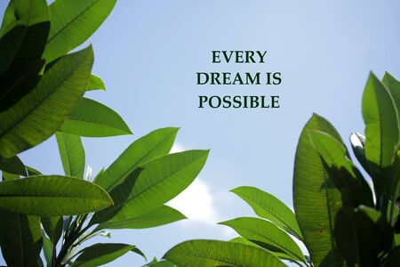 Cita de motivación inspiradora: cada sueño es posible. Con notas sobre hojas verdes de frangipani y fondo de cielo azul. Palabras del concepto de sabiduría con la naturaleza. Foto de archivo