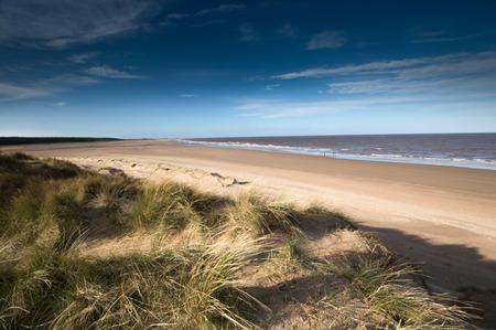 white sand: Sands Dunes on Holkham Beach Stock Photo