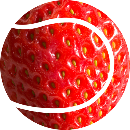 wimbledon: Strawberry Tennis Ball - A tennis ball shape with an image of a strawberry making up the ball Stock Photo