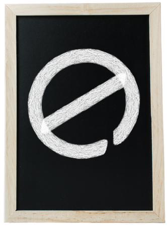 meant: Education Barriers - A chalk board, which is meant to signify education, with a no access traffic sign written in chalk, implying that there is a barrier.