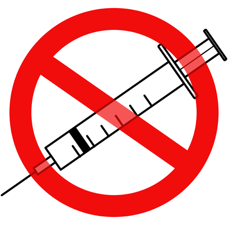 no access: A syringe and a traffic no access sign overlayed, indicating barriers to healthcare