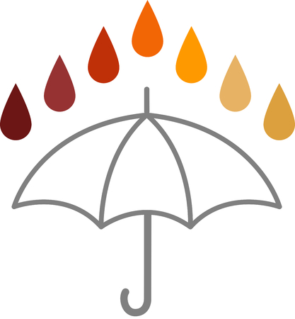 acido: Acid Rain - Rain drops of different colours, through the acid PH spectrum, above the outline of an umbrella