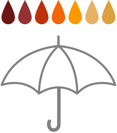 rain drops: Acid Rain - Rain drops of different colours, through the acid PH spectrum, above the outline of an umbrella