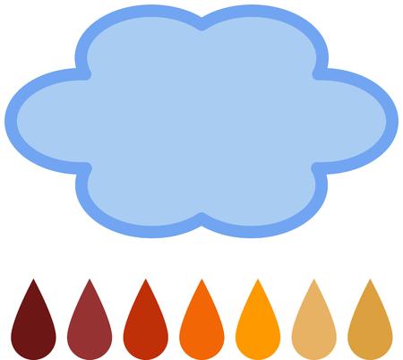 kwaśne deszcze: Acid Rain - Zarys chmurze powyżej 7 kropli deszczu w kolorach od widma kwasu PH