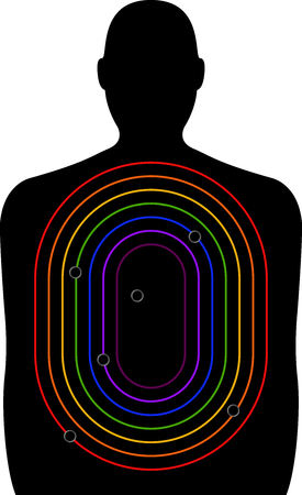 decreasing in size: A shooting range target, figure with curved rectangles of decreasing size in colours of the rainbow