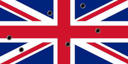 diagonals: An illustrtation of the flag of the United Kingdom, Union Jack with bullets hole through it Stock Photo