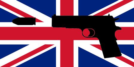 diagonals: An illustration of the Union Jack (flag of the United Kingdom) with an illustration of a gun on top Stock Photo
