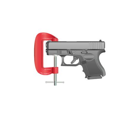 glock: Gun Control - Gun held in G Clamp Stock Photo