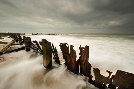 sea defences on the beach at Happisburg, Norfolk
