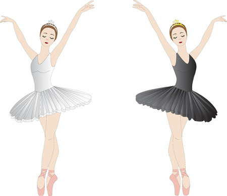 Black and white ballerinas, isolated on white  Vector