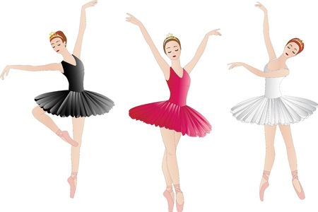 Set of ballerinas, isolated on white Vectores