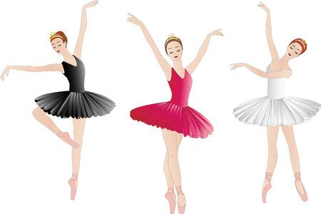 ballerina: Set of ballerinas, isolated on white Illustration