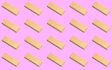 Pattern with waffles on a pink background. Patterns, prints. Reklamní fotografie