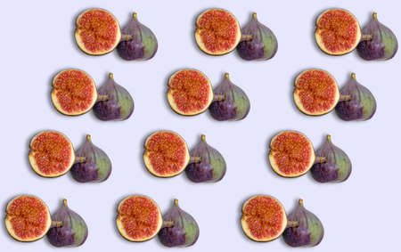 Fig fruit pattern with shadow on a light background. Prints and templates with useful products.