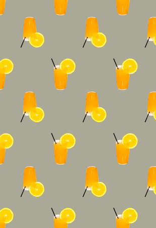 A pattern with orange juice in a glass and a drinking tube on a gray background. Grocery background. Prints, patterns.
