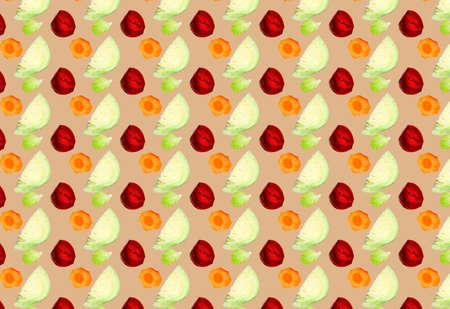 Vegetable diet pattern tk of different sliced vegetables on a beige background. Templates, prints.