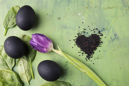 phosphorus: Flower of tulip with black eggs and sesame heart shaped on the green background. Concept of healthy eating. Stock Photo