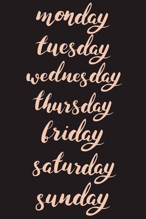 wednesday: Monday, Tuesday, Wednesday, Thursday, Friday, Saturday, Sunday. Set of 7 hand lettered calligraphy writings of weekdays.