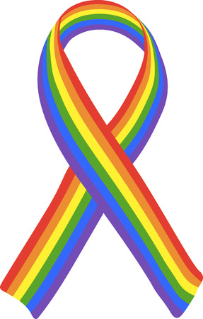 bisexuality: Striped memorial LGBT ribbon.