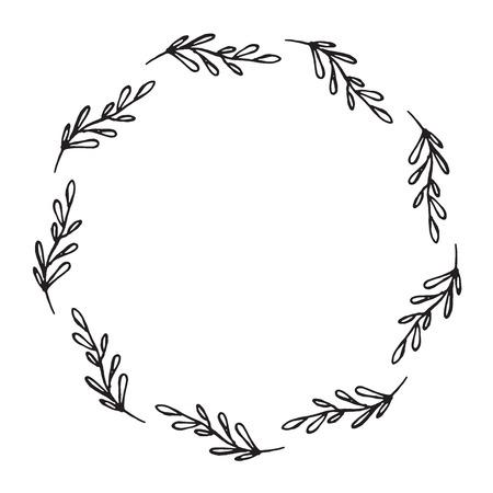 Hand getrokken krans gemaakt in vector. Bladeren en bloemenkransen. Romantisch bloemenontwerpelement.