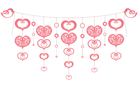 saint valentine s day: Vector background with hearts and birds(eps.8). Valentine\