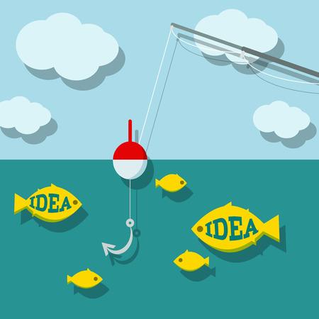 ocean fishing: Search ideas concept. Vector eps10