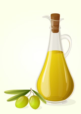 Olive oil and  branch of olives, vector
