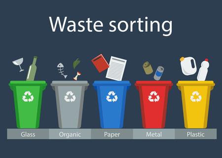 Afval sorteren voor recycling, vector Stock Illustratie