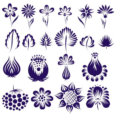 leaf line: Vector ethnic flower set. Ukrainian traditional style. Design element.