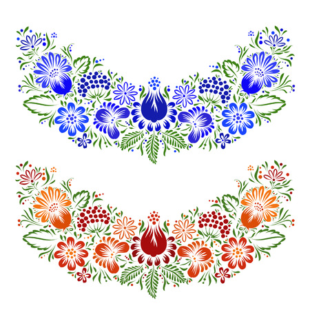 national border: Vector ornament with ethnic flowers and leaves.Ukrainian traditional style