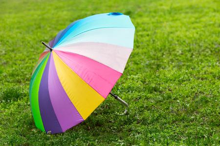 accessorize: Rainbow umbrella on the green grass.