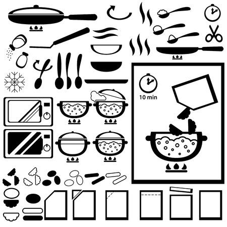 istruzione: Cooking istruzioni per la progettazione di prodotti semilavorati di imballaggio. Icone vettoriali set 3. Vettoriali