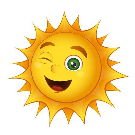 sol caricatura: Sol brillante sonrisa amarilla aislada en un fondo blanco