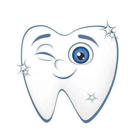 dientes caricatura: Sonriendo diente sano sobre un fondo blanco