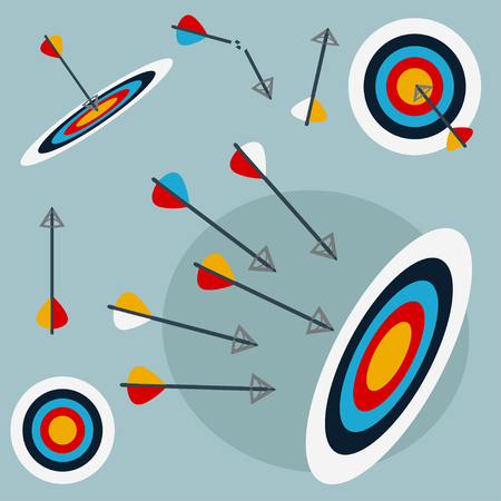 challenges: Arrows hitting target, successful business conception, competition. Set of vector elements, flat style