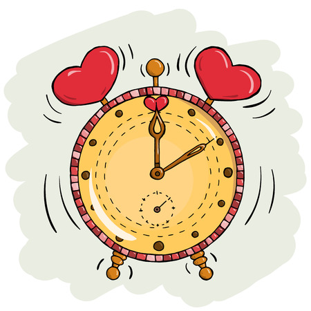 cartoon clock: Vector cartoon clock with hearts. Valentines day card. Time for love