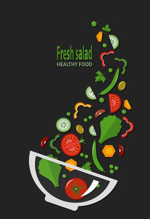 ensalada de verduras: ensalada fresca, alimentos orgánicos, vegetales. Ilustración del vector, estilo plano
