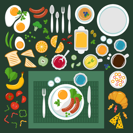 lunch: Breakfast. Table with egg, toast, sausage, pancake, butter, cheese, coffee, green tea, vegetable, fruit,croissant, knife, spoon, plate, fork. Healthy food. Top view, vector icons set, flat style Illustration