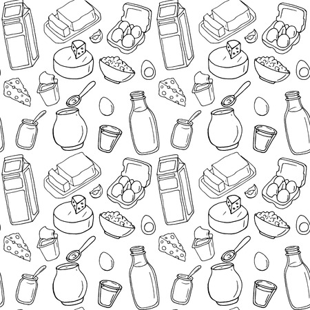 Seamless pattern. Vector dairy products: milk, cheese, butter, yogurt, cheese, sour cream, eggs. Healthy food set. Breakfast. Hand drawn illustration on a white background.