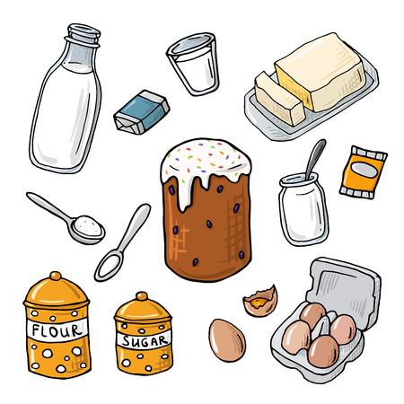 homemade cake: Easter cake ingredient. Set of vector elements: milk, flour, eggs, sugar, butter, yeast. Cartoon illustration