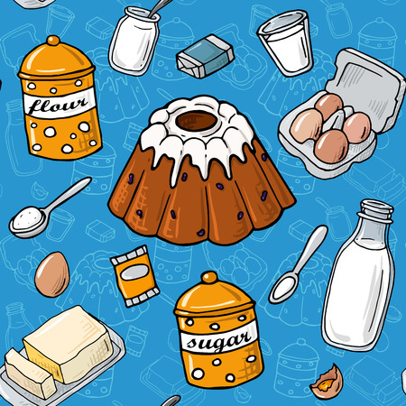 flour: Seamless pattern. Easter cake ingredient. Set of vector elements: milk, flour, eggs, sugar, butter, yeast, cheese. Cartoon illustration