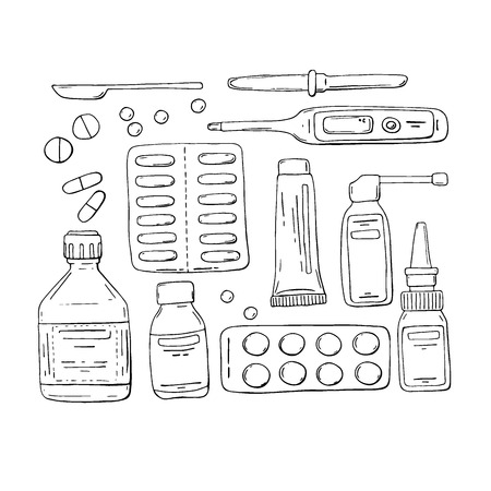 white pills: Vector doodle set: tablets, pills, drugs, cough syrup, nasal drops, thermometer, medicine dropper. Hand drawn sketch isolated on a white Illustration