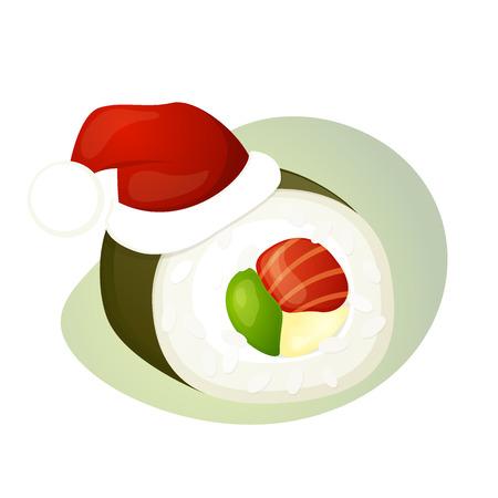 comida japonesa: Pescados y mariscos sushi, rollo, sombrero de la Navidad, ilustración del vector aislado en un blanco Vectores