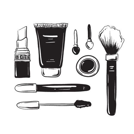 eyeshadow: Fashion set, hand drawn sketch of cosmetics isolated on a white. Mascara, cream, eyeshadow, brush